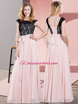 Unique Floor Length Empire Sleeveless Baby Pink Prom Gown Lace Up