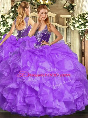 Gorgeous Beading and Ruffles Quince Ball Gowns Lavender Lace Up Sleeveless Floor Length
