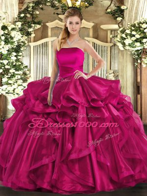 Hot Pink Lace Up Strapless Ruffles Sweet 16 Dresses Organza Sleeveless