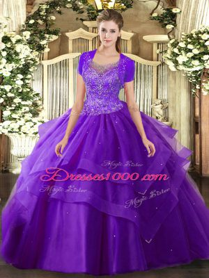 Sleeveless Floor Length Beading and Ruffles Clasp Handle Quinceanera Gown with Purple