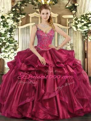 Glamorous Wine Red Organza Lace Up 15th Birthday Dress Sleeveless Floor Length Beading and Ruffles