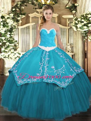 Deluxe Teal Sweetheart Lace Up Appliques and Embroidery Vestidos de Quinceanera Sleeveless
