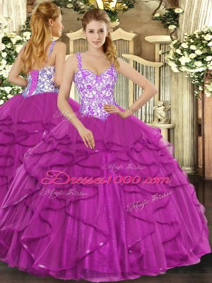 Sleeveless Floor Length Beading and Appliques and Ruffles Lace Up Ball Gown Prom Dress with Fuchsia