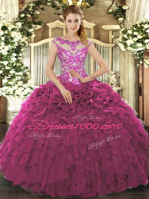 Flirting Fuchsia Lace Up Scoop Beading and Appliques and Ruffles 15th Birthday Dress Organza Cap Sleeves