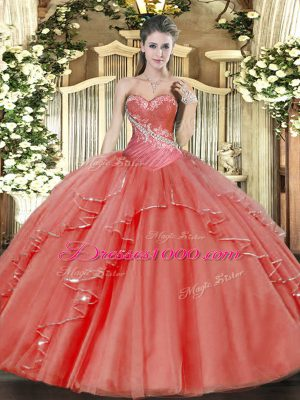 Sweetheart Sleeveless Sweet 16 Quinceanera Dress Floor Length Beading and Ruffled Layers Coral Red Tulle