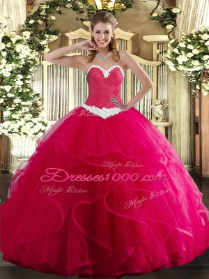 Hot Pink Tulle Lace Up Sweetheart Sleeveless Floor Length Sweet 16 Dress Appliques and Ruffles