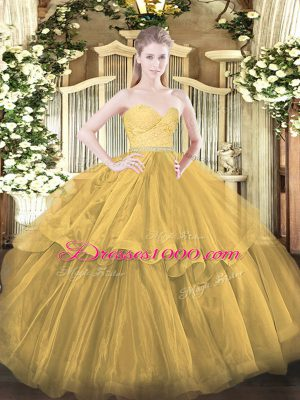 Best Beading and Lace and Ruffled Layers 15th Birthday Dress Gold Zipper Sleeveless Brush Train