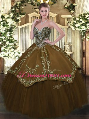 Extravagant Sweetheart Sleeveless Sweet 16 Dresses Floor Length Beading and Embroidery Brown Taffeta and Tulle