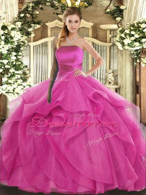 Hot Pink Strapless Lace Up Ruffles Sweet 16 Dress Sleeveless