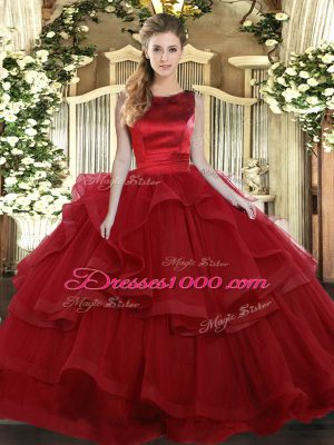 Vintage Wine Red Scoop Lace Up Ruffled Layers Quinceanera Gown Sleeveless
