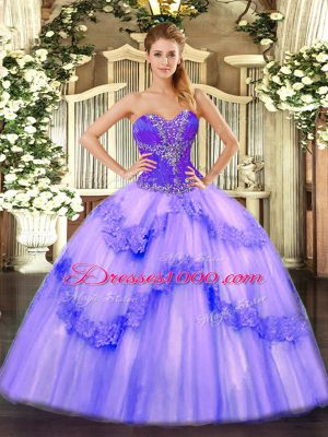 High Class Lavender Sweetheart Neckline Beading Quinceanera Gowns Sleeveless Lace Up