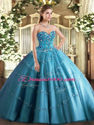 Exceptional Teal Lace Up 15 Quinceanera Dress Appliques and Embroidery Sleeveless Floor Length