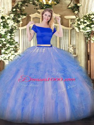 Suitable Blue And White Zipper Off The Shoulder Appliques and Ruffles Quinceanera Dress Tulle Short Sleeves