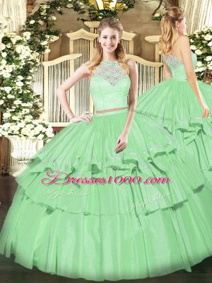 Flirting Sleeveless Floor Length Lace and Ruffled Layers Zipper Quinceanera Dresses with Apple Green