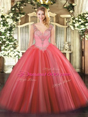 Romantic Coral Red Sleeveless Beading Floor Length Quince Ball Gowns