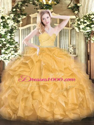 Gold Sleeveless Floor Length Beading and Lace and Ruffles Zipper Sweet 16 Dress