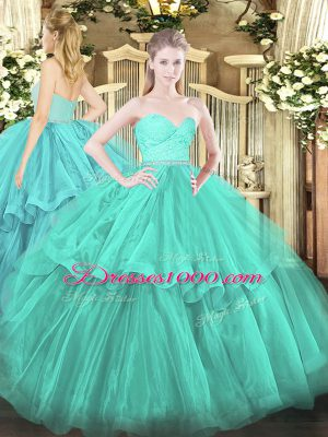 Turquoise Ball Gowns Beading and Lace and Ruffled Layers 15th Birthday Dress Zipper Tulle Sleeveless