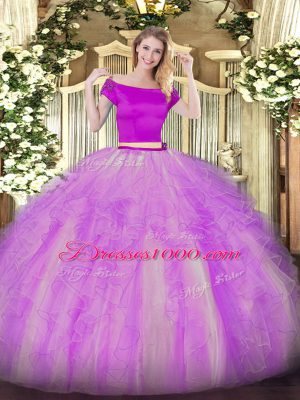 Dramatic Short Sleeves Appliques and Ruffles Zipper Sweet 16 Dress