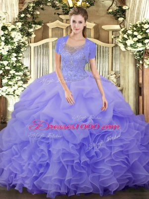 New Style Lavender Scoop Clasp Handle Beading and Ruffled Layers Sweet 16 Dresses Sleeveless