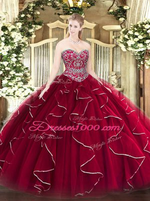 Designer Tulle Sleeveless Floor Length Quinceanera Gown and Beading and Ruffles