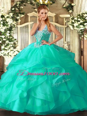 Discount Floor Length Ball Gowns Sleeveless Turquoise Vestidos de Quinceanera Lace Up