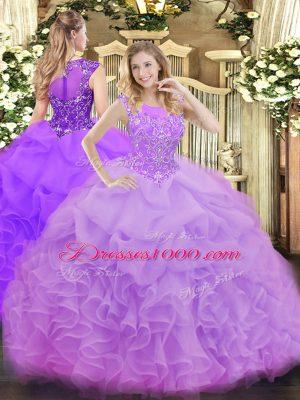 Floor Length Lavender Sweet 16 Dresses Organza Sleeveless Beading and Ruffles and Pick Ups