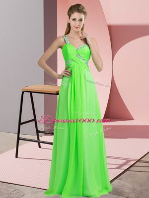 Green Empire Beading Party Dress for Toddlers Lace Up Chiffon Sleeveless Floor Length