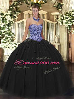 Ball Gowns Sweet 16 Quinceanera Dress Black Sweetheart Tulle Sleeveless Floor Length Lace Up