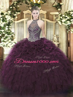 Sleeveless Organza Floor Length Lace Up Quince Ball Gowns in Dark Purple with Beading and Ruffles