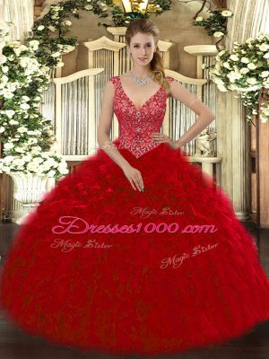 Artistic Organza V-neck Sleeveless Zipper Beading and Ruffles Quinceanera Dresses in Wine Red