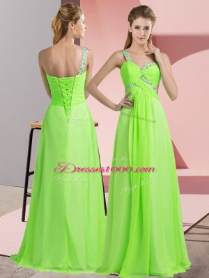 Customized Empire Beading Party Dress for Toddlers Lace Up Chiffon Sleeveless Floor Length