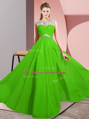 Amazing Scoop Sleeveless Party Dress for Toddlers Floor Length Beading Green Chiffon