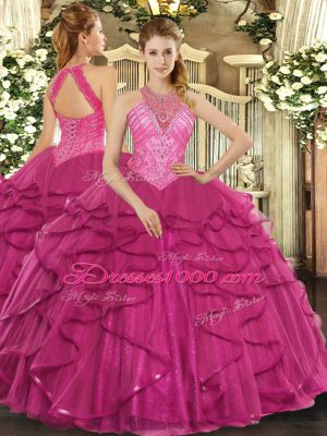 Floor Length Hot Pink Quinceanera Dress High-neck Sleeveless Lace Up