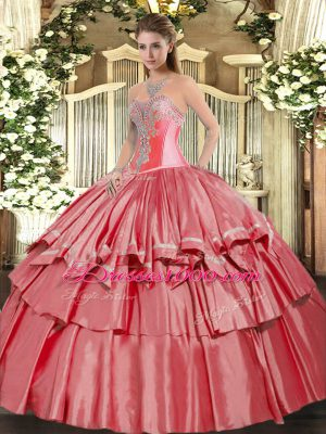 Cute Coral Red Lace Up 15th Birthday Dress Beading and Ruffled Layers Sleeveless Floor Length
