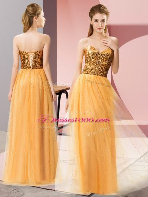 Stylish Gold Empire Sequins Prom Party Dress Lace Up Tulle Sleeveless Floor Length