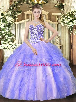 Sumptuous High Low Lavender Sweet 16 Dress Tulle Sleeveless Beading and Ruffles