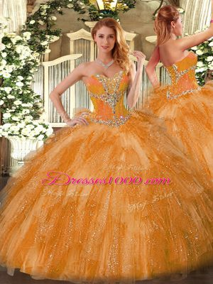 Classical Orange Quinceanera Dress Organza Sleeveless Beading and Ruffles