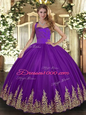Purple Halter Top Neckline Appliques Quinceanera Dress Sleeveless Lace Up