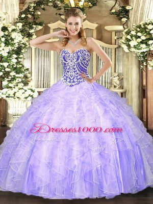 Most Popular Asymmetrical Lavender Quinceanera Dress Tulle Sleeveless Beading and Ruffles