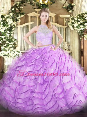 Stunning Sleeveless Lace and Ruffles Zipper Quince Ball Gowns with Lilac Brush Train
