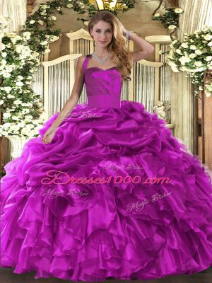 Glittering Fuchsia Ball Gowns Organza Halter Top Sleeveless Ruffles and Pick Ups Floor Length Lace Up Quinceanera Dress