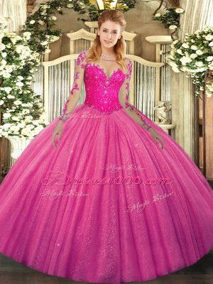 Colorful Long Sleeves Floor Length Lace Lace Up 15 Quinceanera Dress with Hot Pink