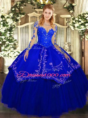 Fashionable Royal Blue Long Sleeves Lace and Embroidery Floor Length Quinceanera Gown
