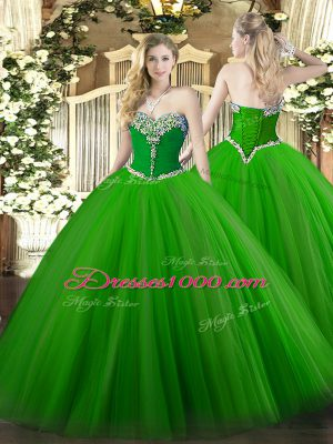 Lovely Floor Length Green Sweet 16 Dress Sweetheart Sleeveless Lace Up