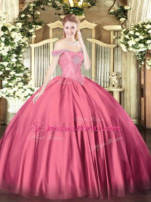 Captivating Hot Pink Lace Up Vestidos de Quinceanera Beading Sleeveless Floor Length