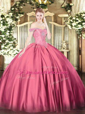 Captivating Hot Pink Lace Up Vestidos de Quinceanera Beading Sleeveless Floor Length