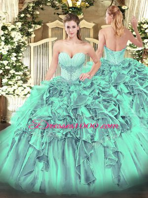 Custom Designed Turquoise Lace Up Quince Ball Gowns Beading and Ruffles Sleeveless Floor Length