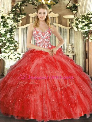 Coral Red Sleeveless Floor Length Beading and Ruffles Lace Up Quince Ball Gowns