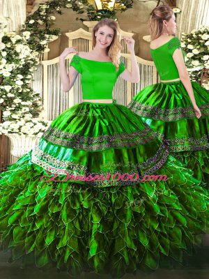 Artistic Green Two Pieces Organza and Taffeta Off The Shoulder Short Sleeves Embroidery and Ruffles Floor Length Zipper Quince Ball Gowns