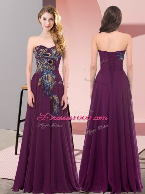 Dark Purple Empire Chiffon Sweetheart Sleeveless Embroidery Floor Length Lace Up Womens Party Dresses